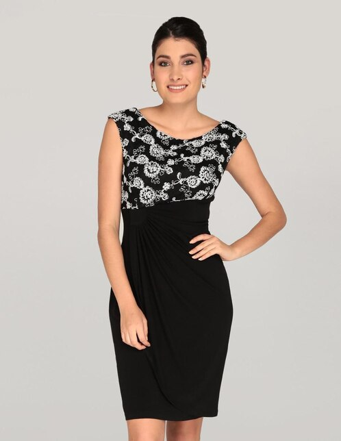 90337402a Vestido Connected Apparel texturizado negro cocktail