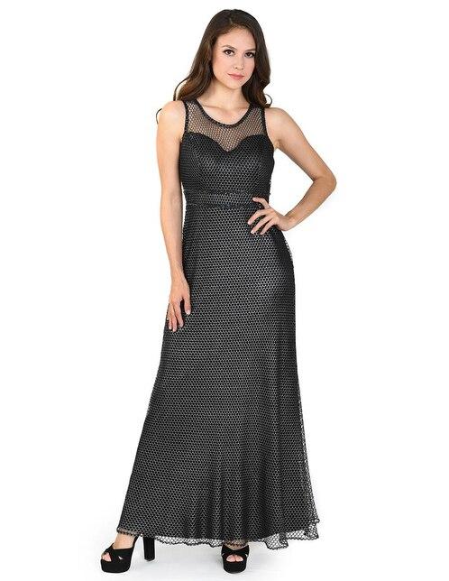9bae5a9e2 Vestido Rue de la Paix negro texturizado noche pedrería
