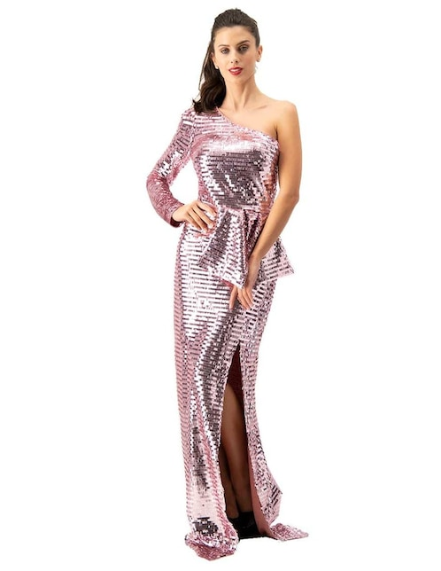 6451677d40 Vestido Ivonne Couture rosa con lentejuelas
