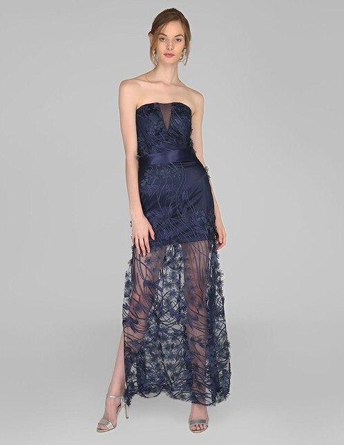 98f8f8f35 Vestido de noche Rue de la Paix azul marino con flores