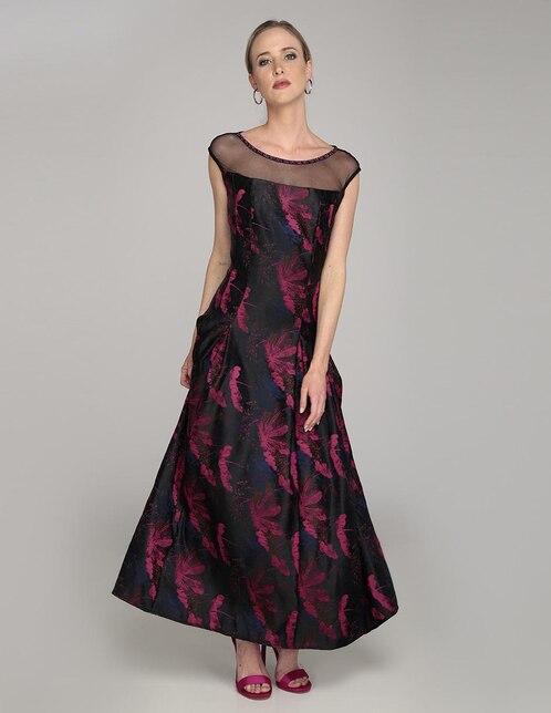 83e028231 Vestido Karen Olivier negro con diseño gráfico fiesta