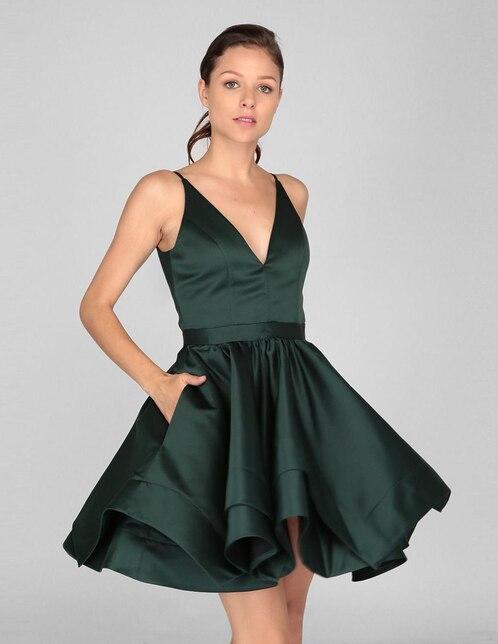 0343281de Vestido Rue de la Paix verde noche con bolsillos