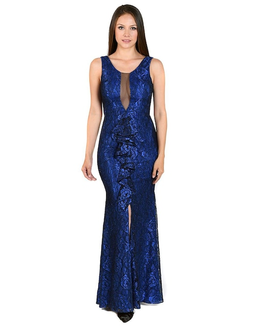 Vestido azul electrico con coral