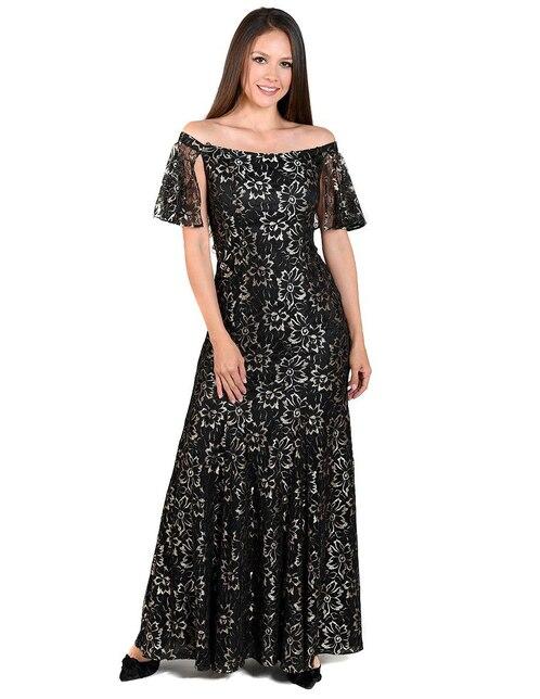 9f5741c388 Vestido Rue de la Paix negro con diseño floral de noche