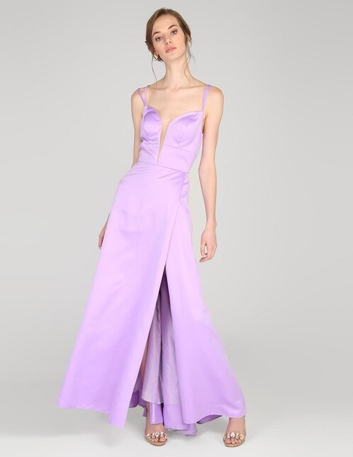 5a6105024 Vestido de fiesta Rue de la Paix lila escote profundo