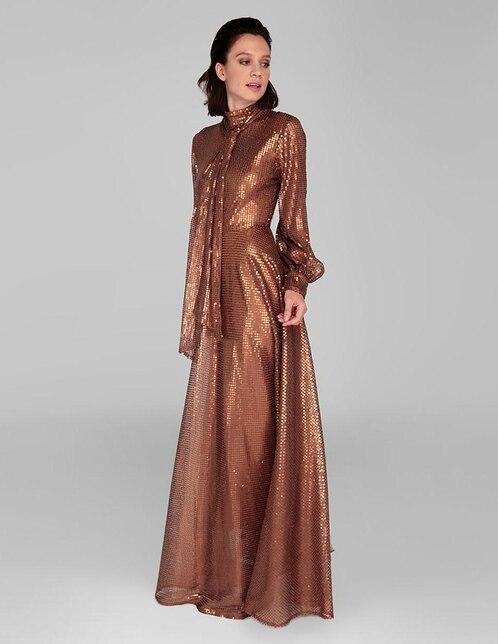 a80c63854 Vestido Alejandro Carlín color cobre texturizado noche