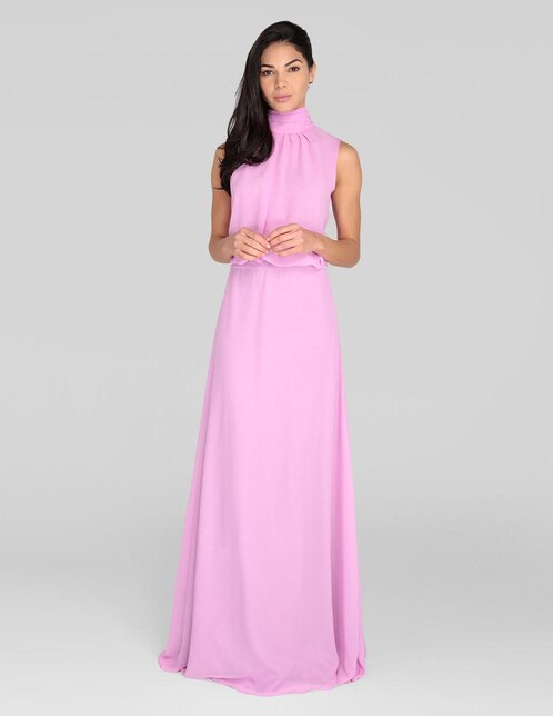 f294d8062 Vestido formal Alejandro Carlin rosa cuello alto