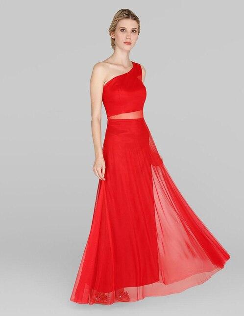 22836912a Vestido de fiesta Rue de la Paix rojo con transparencia
