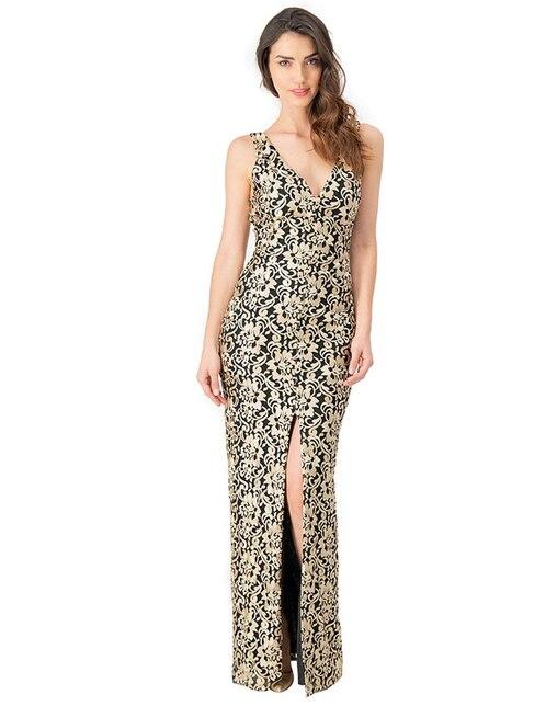 25435e0bb Vestido Ivonne Couture color oro con diseño gráfico de fiesta