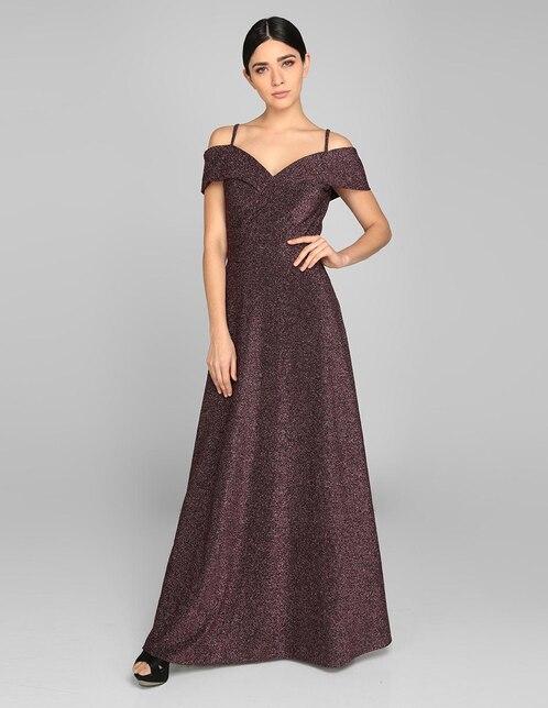 821fe7535e Vestido de fiesta Rue de la Paix rosa texturizado