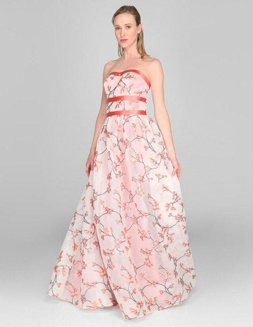 597d06c9f Vestido de noche Nikki Elite coral con diseño floral