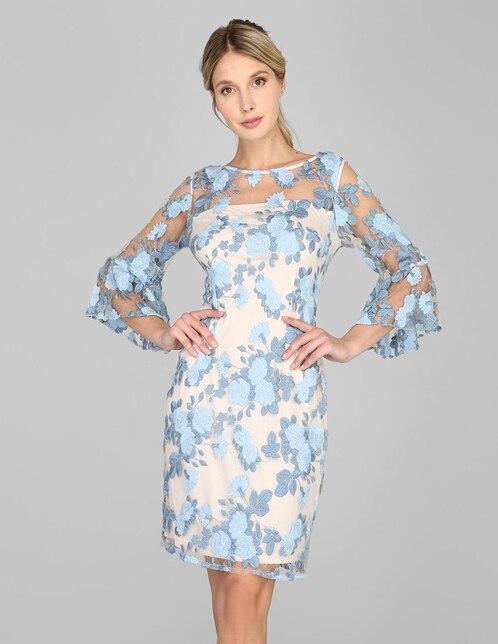 Vestido Formal Adrianna Papell Azul Con Diseño Floral