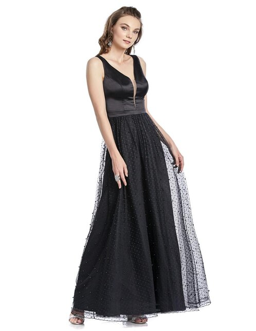 5752486a2a9 Vestido Brazzi J negro de fiesta con perlas