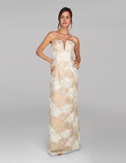 41dc40b1f Vestido de noche Mia Paluzzi dorado texturizado