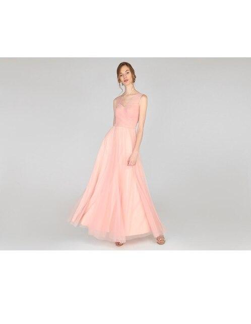 bef7eeb37 Vestido de noche Nikki Elite rosa con transparencia