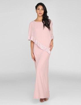 cd3cfa176 Vestido de cocktail SL Fashions rosa claro cuello .