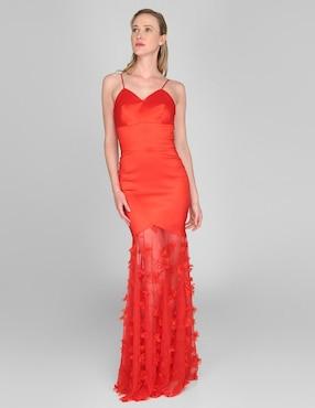 5a4d5304a Vestido de noche Rue de la Paix rojo cuello corazó.