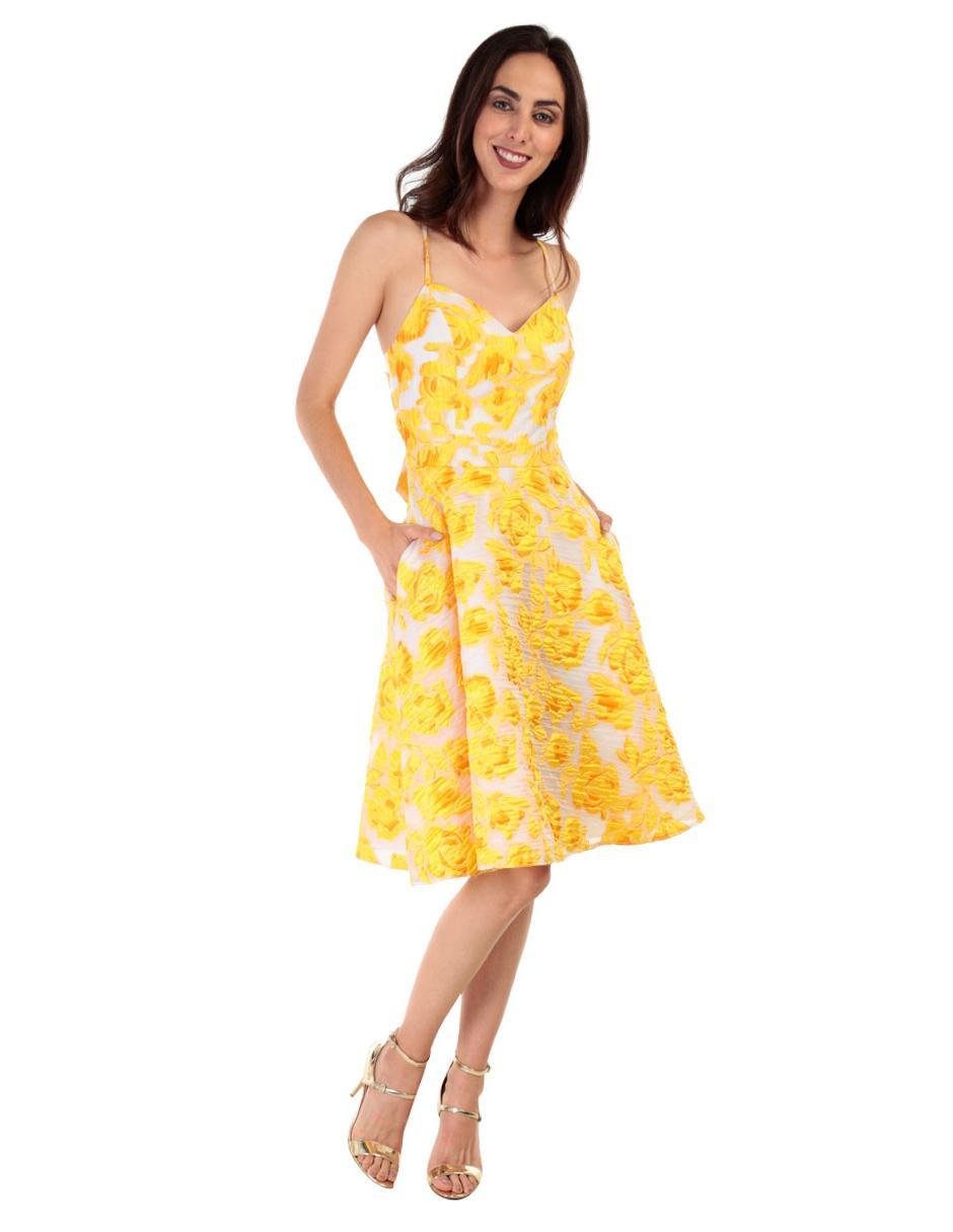 Vestido texturizado Rue de la Paix amarillo b504d79816c