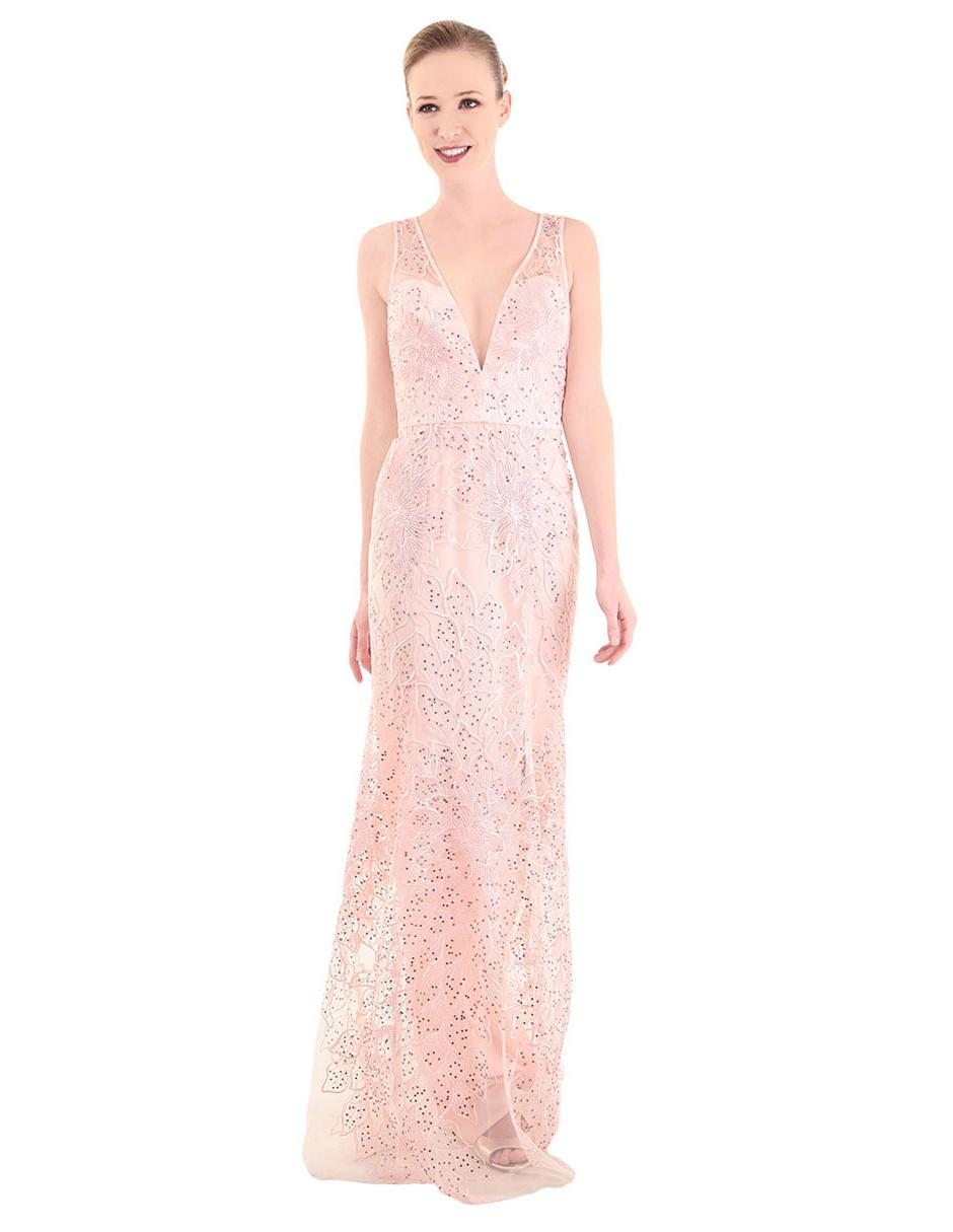 Vestido Bordado Ivonne Couture Rosa Claro