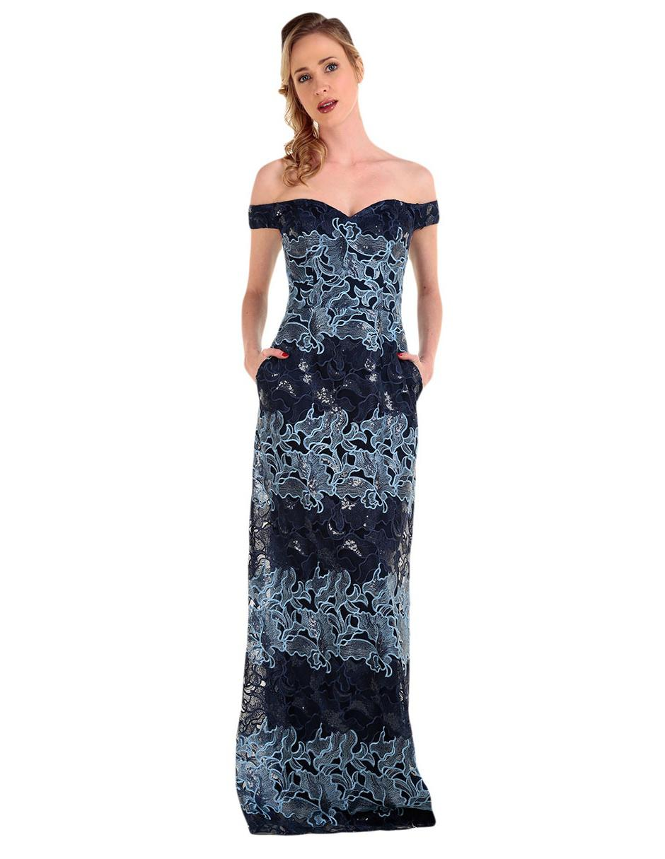 Vestido Texturizado Ivonne Couture Azul Marino