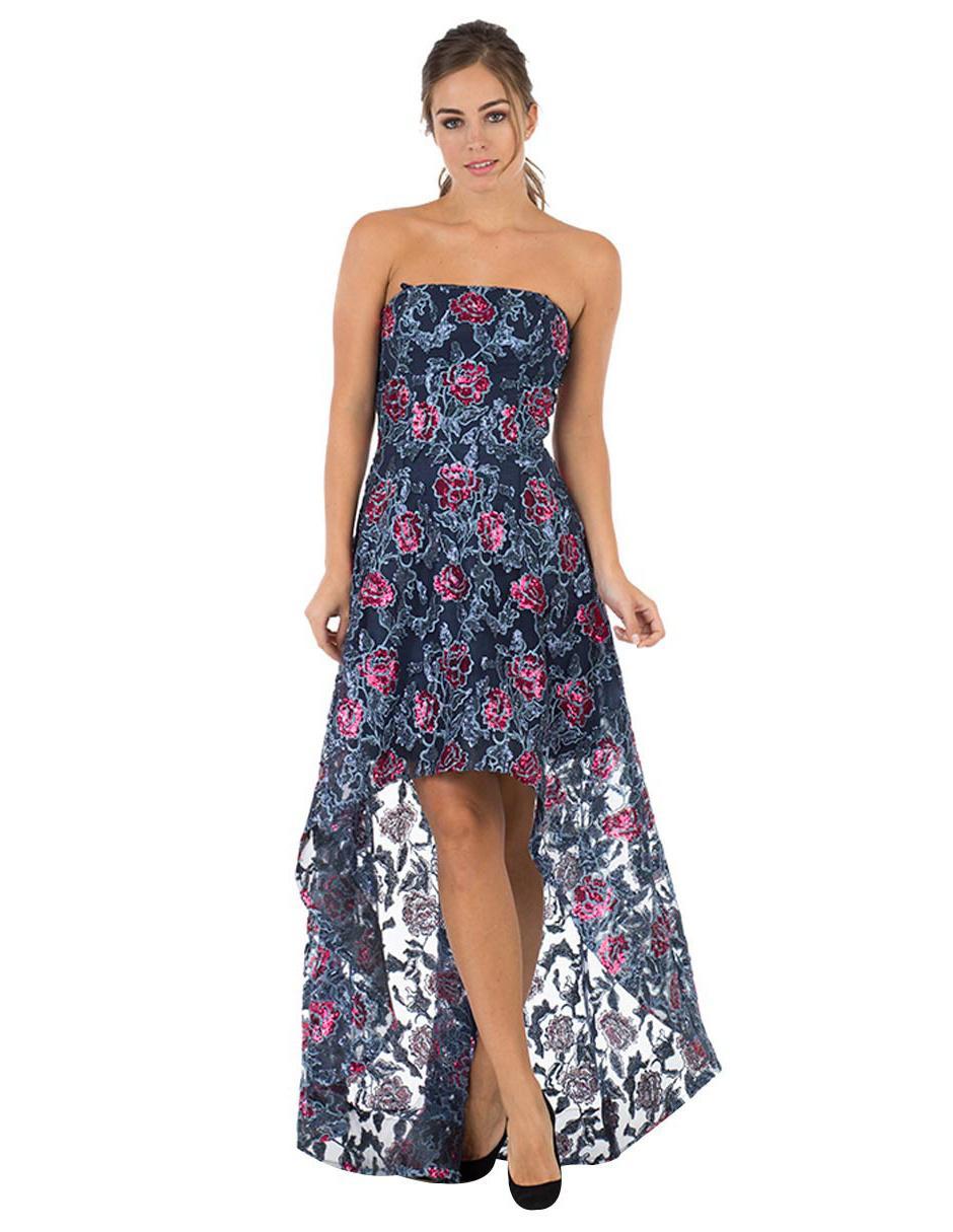 Vestido Floral Ivonne Couture Azul Marino