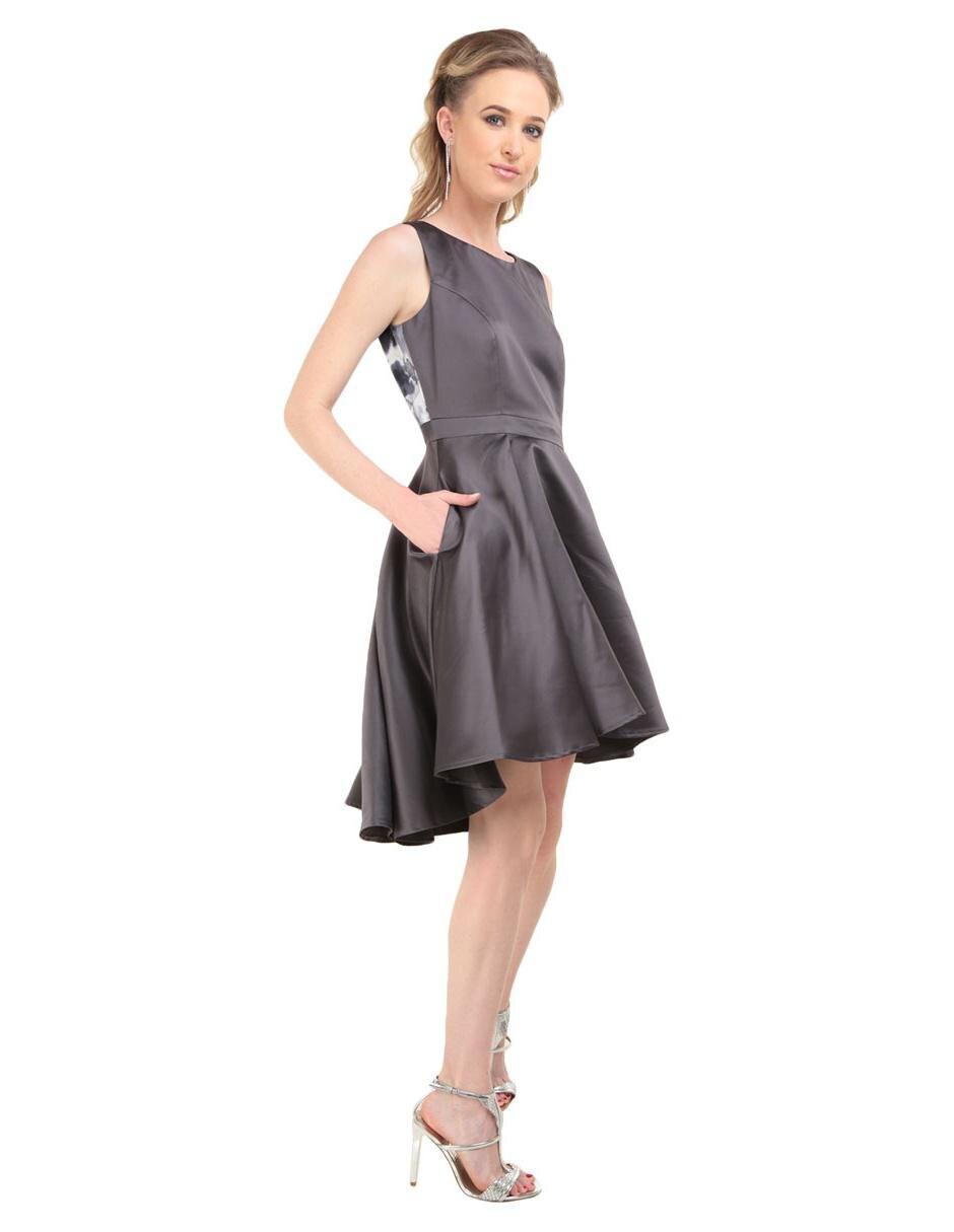 adc2ec554 Vestido liso Eva Brazzi Cocktail gris