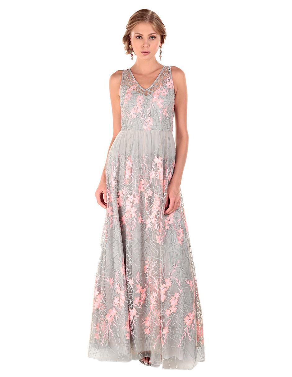 9e86fc015 Vestido bordado Adrianna Papell gris claro