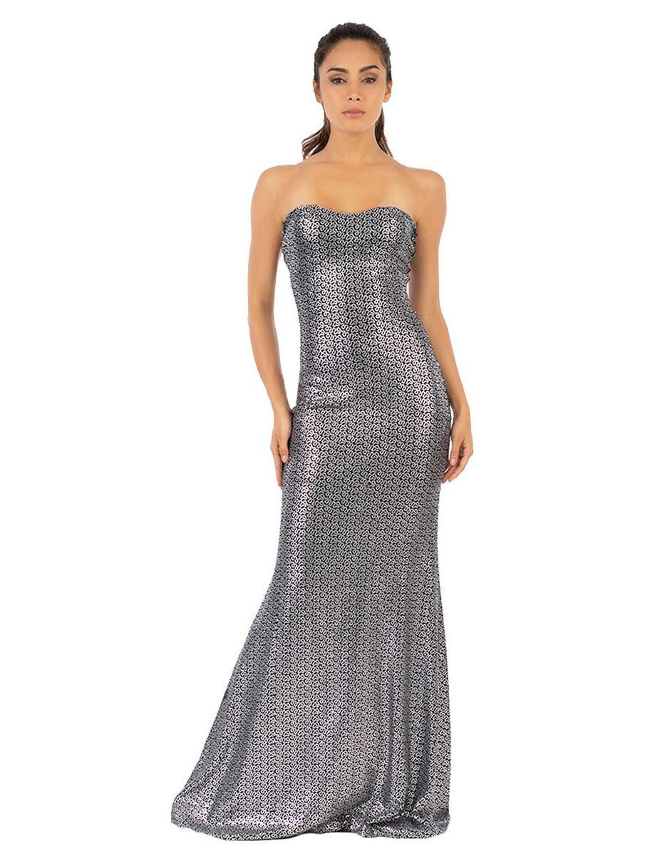 Vestido Con Diseño Gráfico Ivonne Plateado