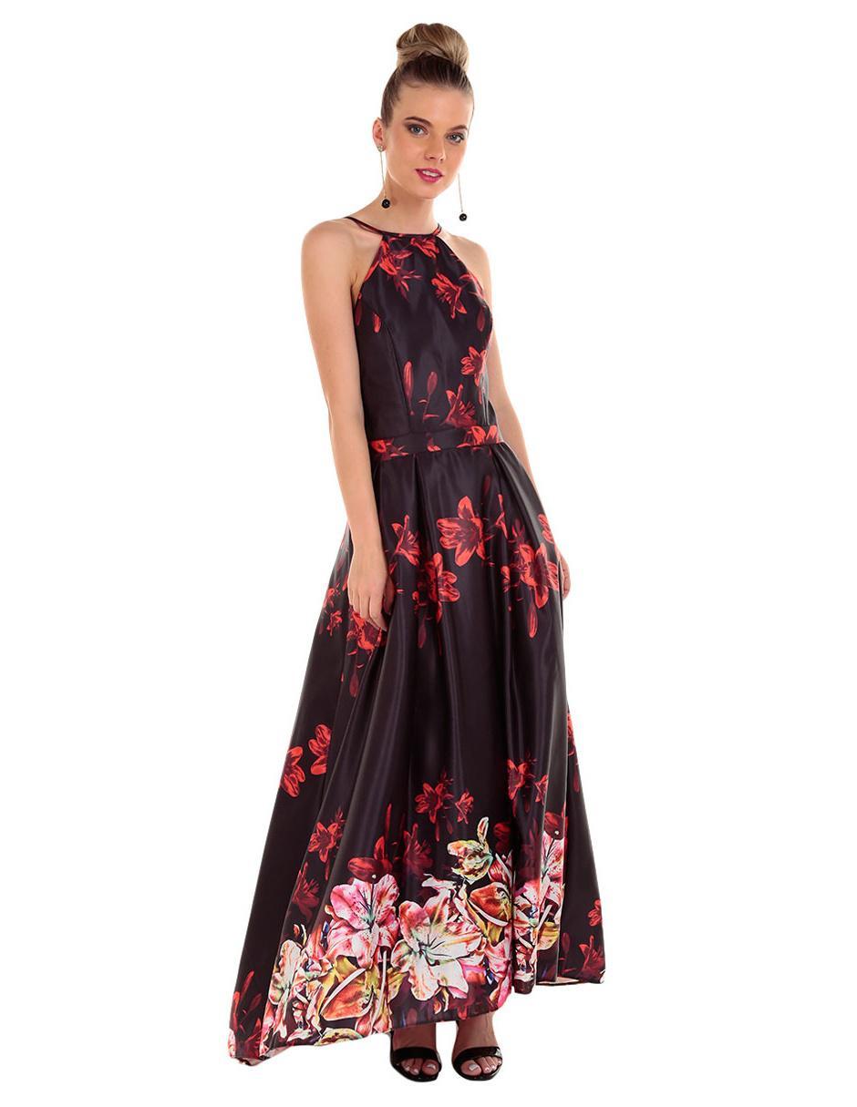 1073df12c Vestido Rue de la Paix negro con diseño floral noche