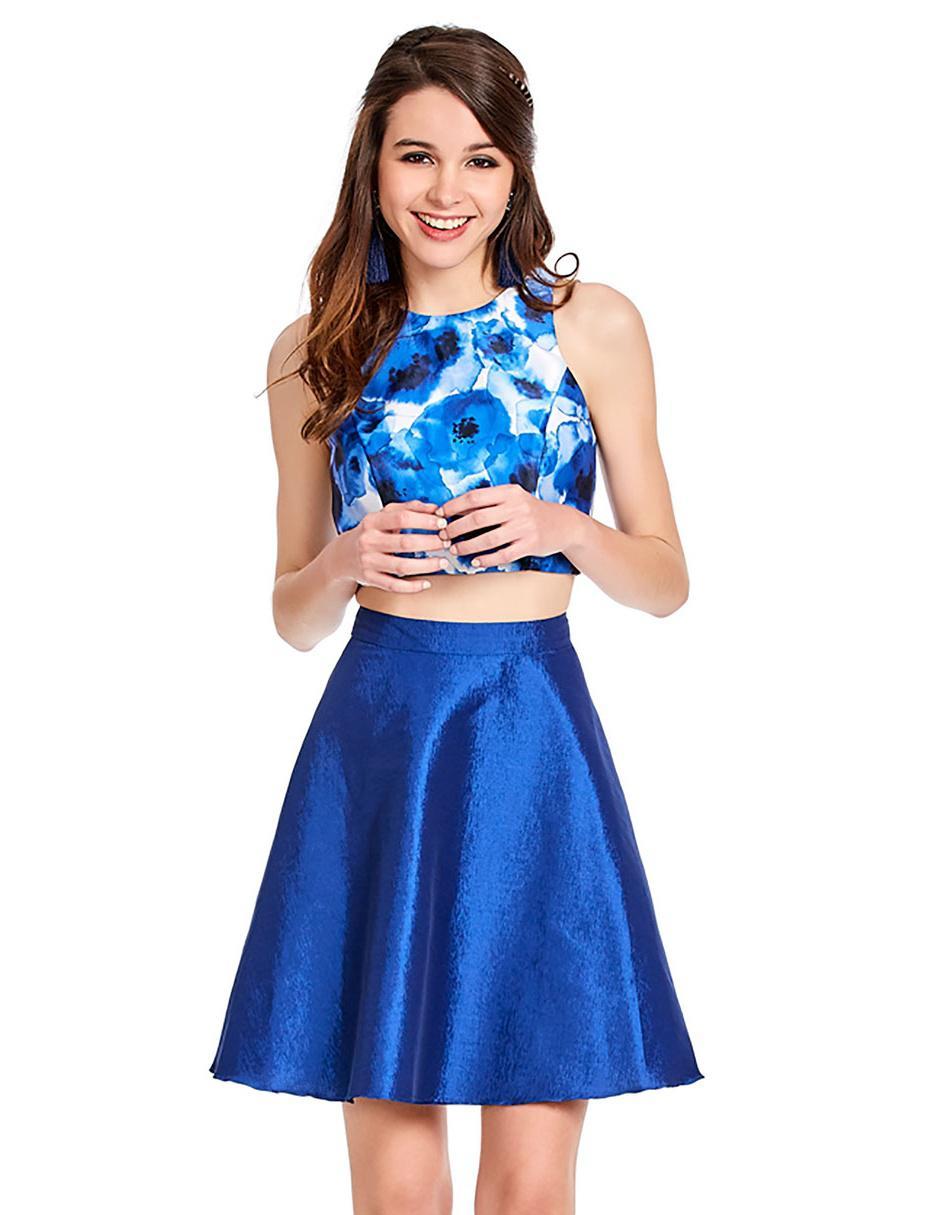 67bb943e5 Vestido liso Eva Brazzi Cocktail azul rey