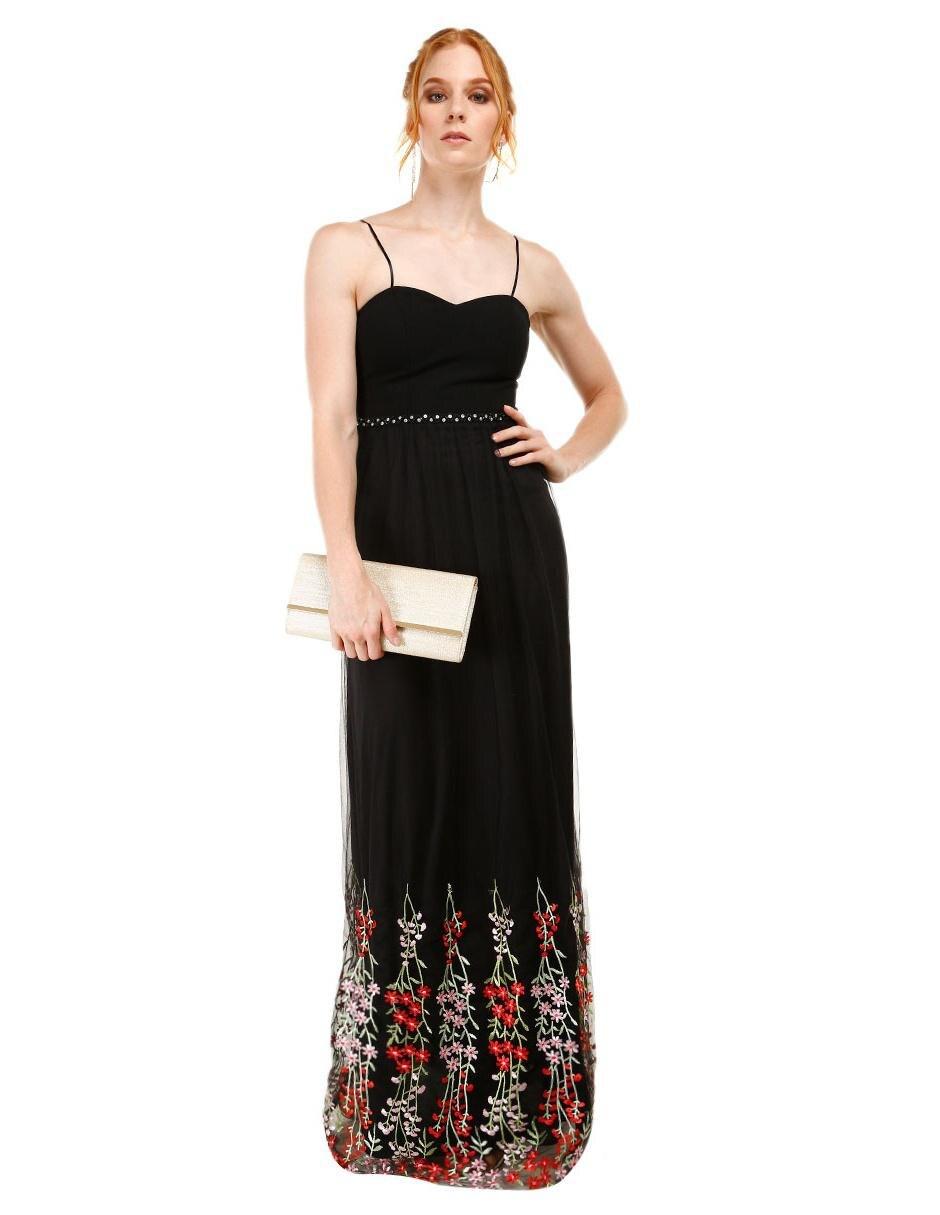 Vestido liso Rue de la Paix negro ff70b2bfa3c