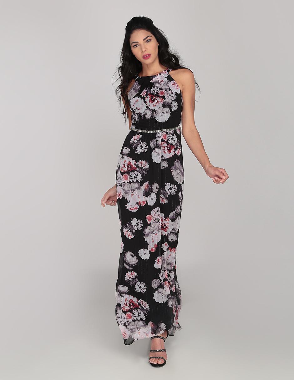 Vestido Sl Fashions Negro Con Diseño Floral Cocktail
