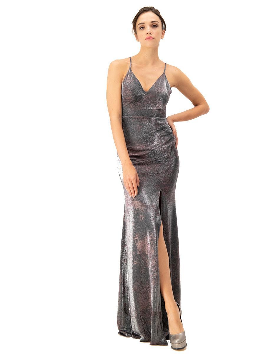 Vestido Con Diseño Gráfico Ivonne Couture Plateado