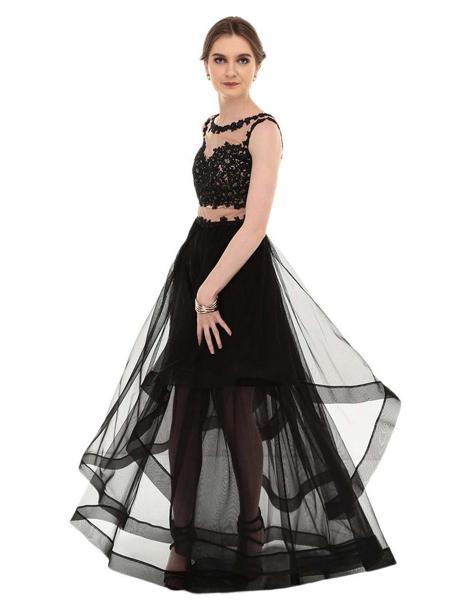 8ba959151 Vestido Nikki Elite negro noche traslúcido