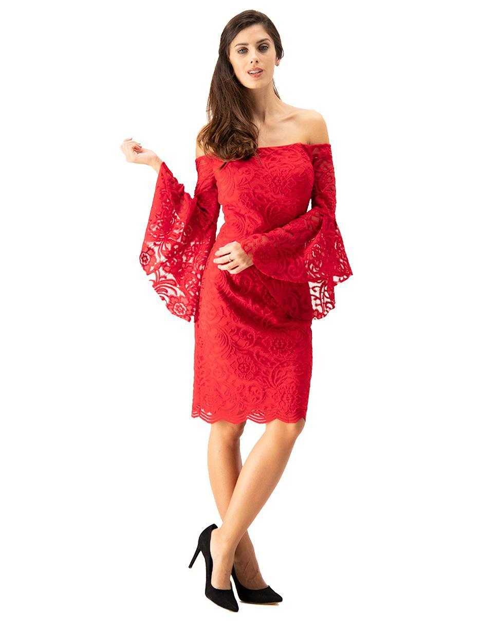 Vestido De Encaje Ivonne Couture Rojo