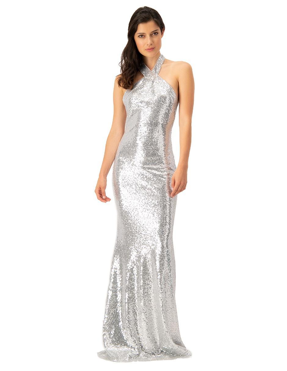 Vestido Ivonne Couture Plateado Noche