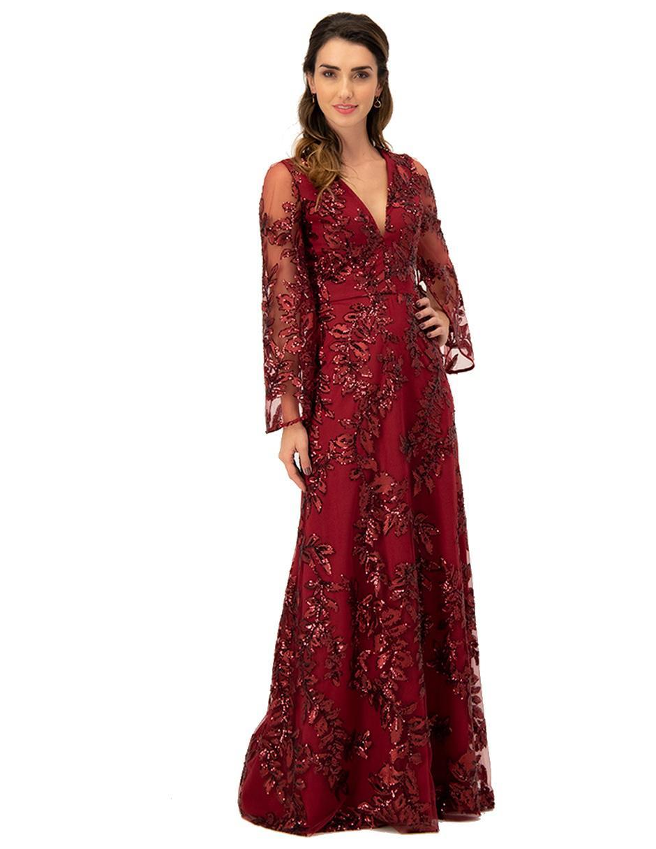 Vestido Ivonne Couture Vino Noche