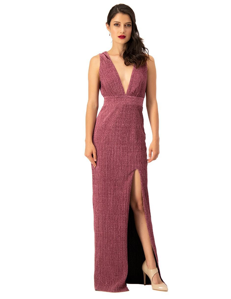 Vestido Ivonne Couture Rosa Acanalado
