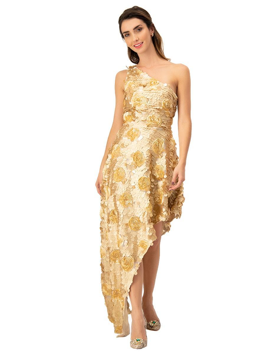 Vestido Ivonne Couture Oro Con Diseño Floral Fiesta