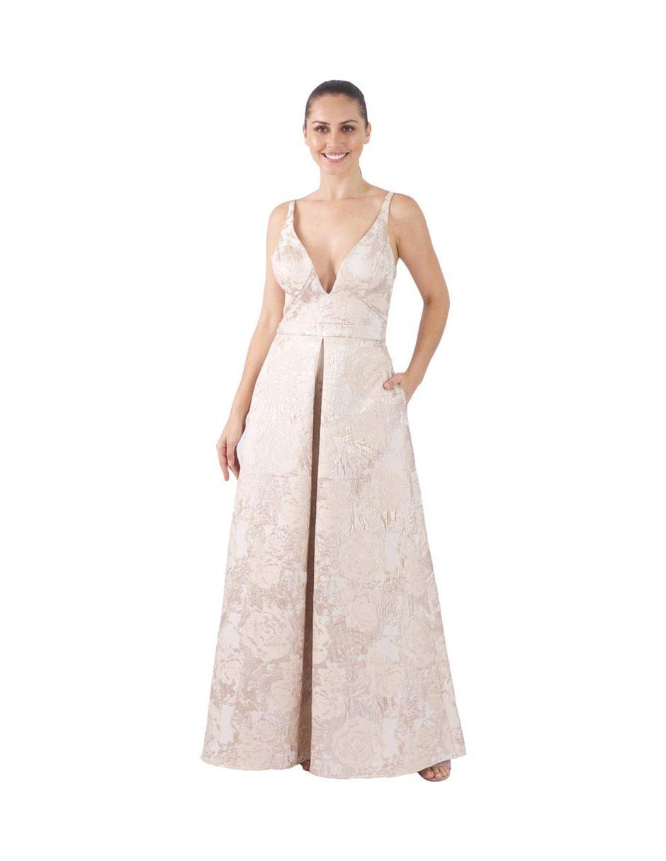 Vestido Ema Valdemossa Color Oro Texturizado Cocktail