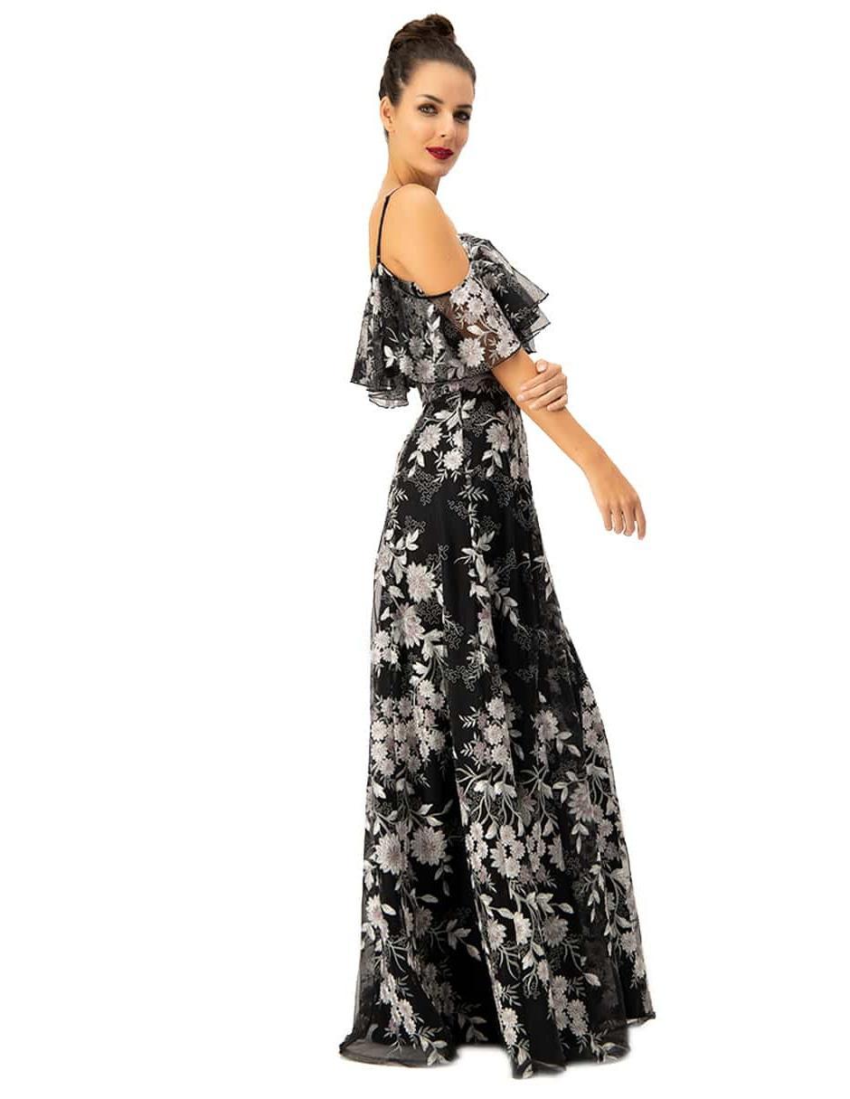 Vestido Ivonne Couture Plateado Noche Floral