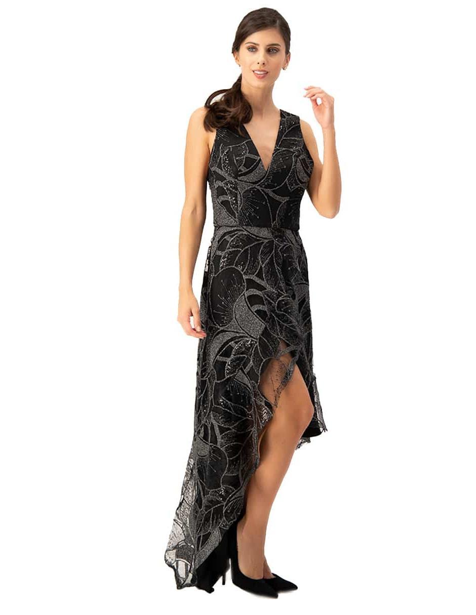 Vestido Ivonne Couture Negro Con Diseño Gráfico