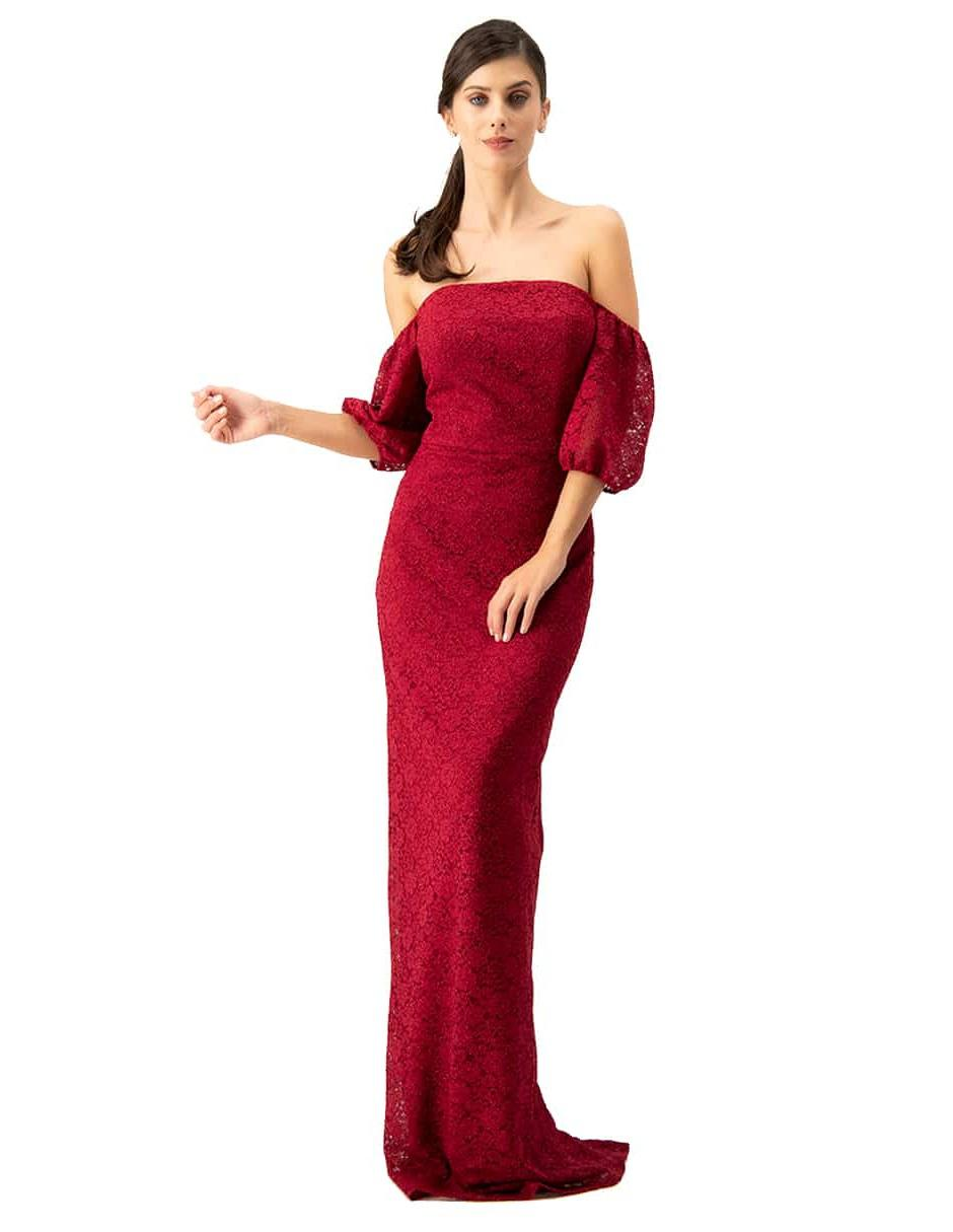 Vestido Ivonne Couture Encaje Rojo Formal