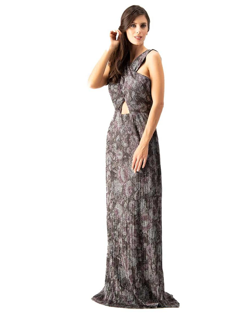 Vestido Ivonne Couture Morado Con Diseño Gráfico