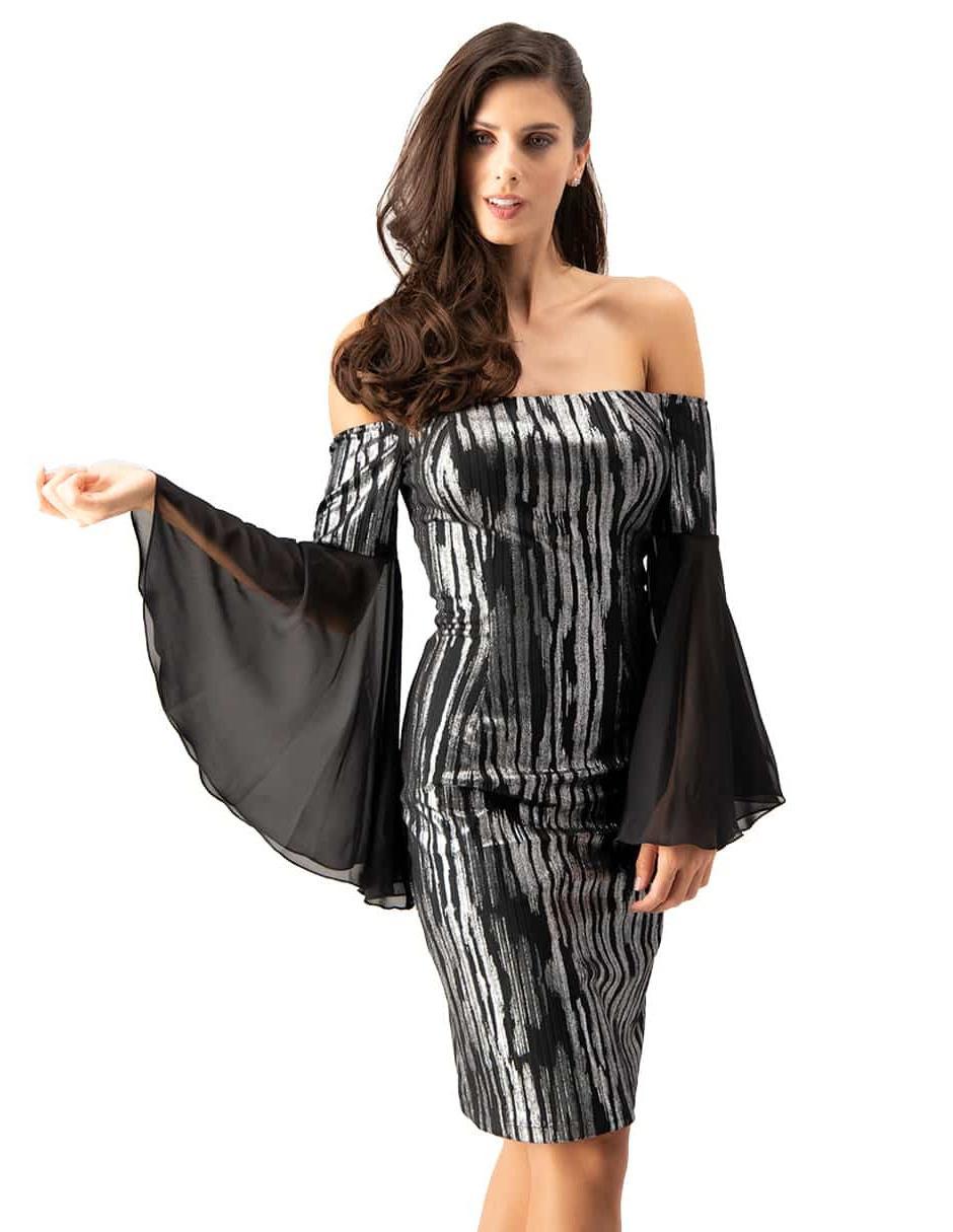 Vestido Ivonne Couture Plata Con Diseño Gráfico Y Mangas Acampanadas