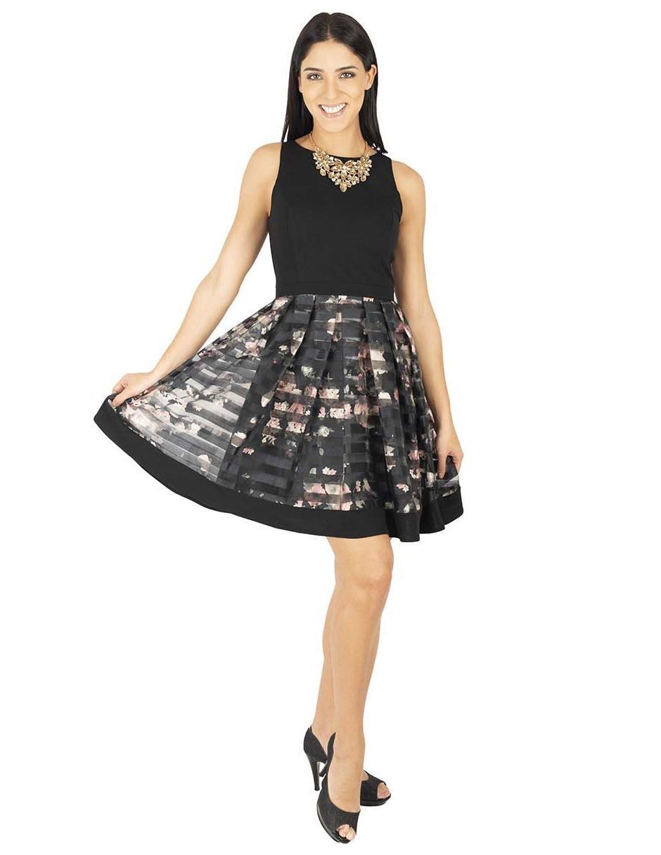 Vestido Rue de la Paix negro con diseño floral transparencia d9b83605d5c