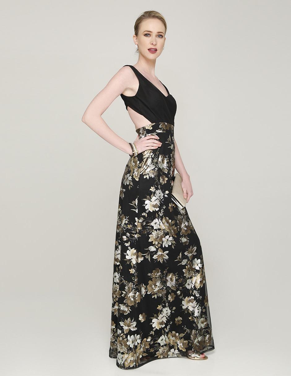 5fcefbe7e Vestido Rue de la Paix negro noche con diseño floral