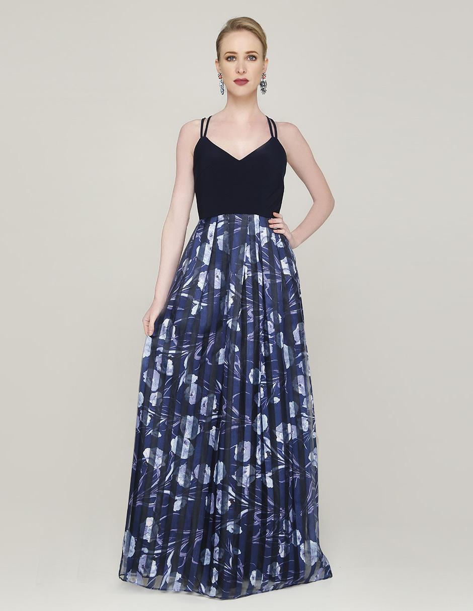 Vestido Rue De La Paix Azul Noche Con Diseño Floral