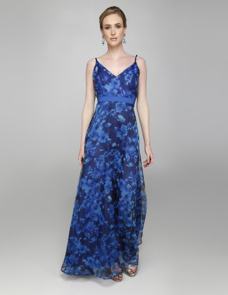 9446cb0aa Vestido Rue de la Paix azul rey con diseño floral cocktail