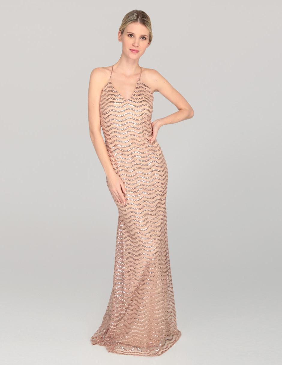 Vestido Rue De La Paix Color Oro Noche